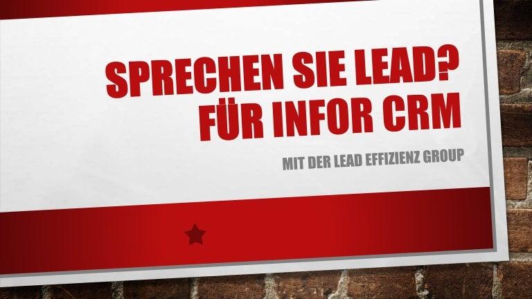 Sprechen Sie Lead Für Infor Crm