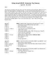 Bishop Kenny NJROTC Spring Trip Instructions for the Cadets