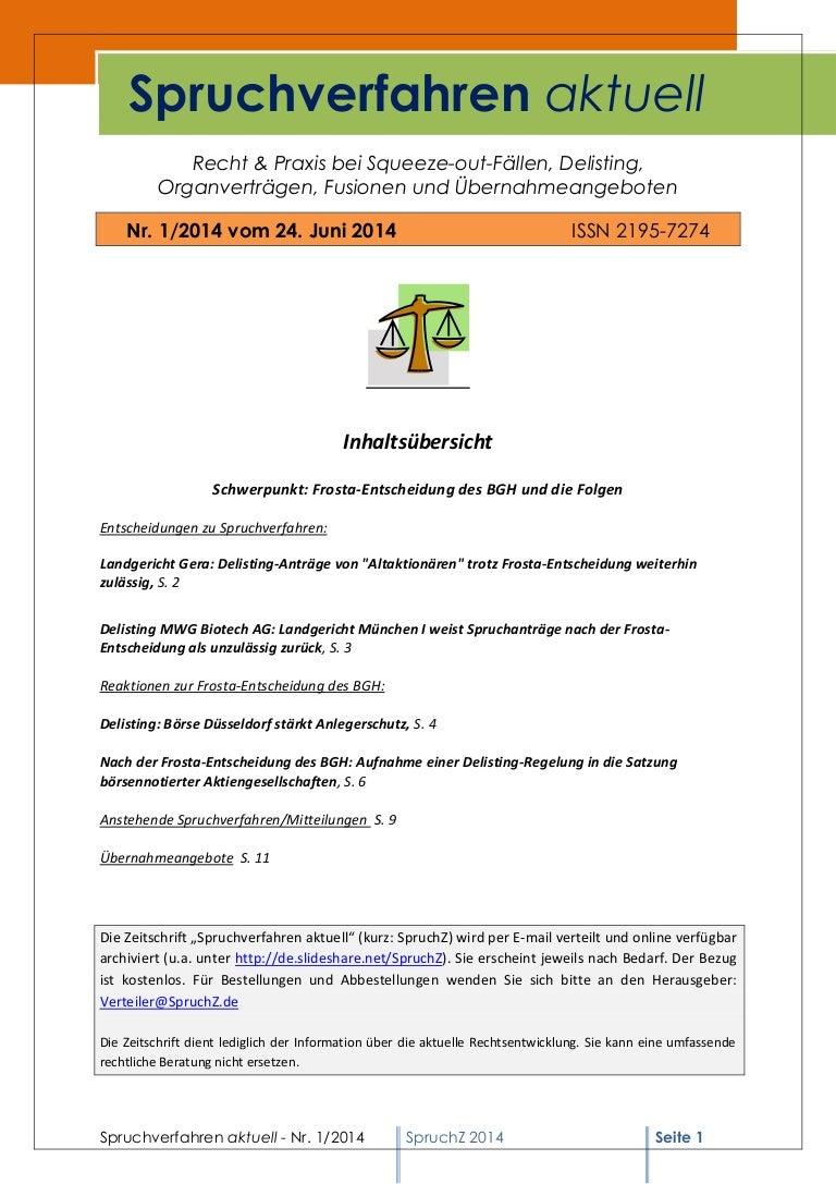^ Spruchverfahren aktuell (SpruchZ) Nr. 1/2014 (Frosta-ntscheidung und…