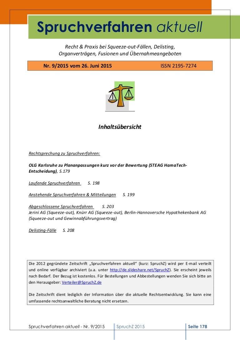 Spruchverfahren aktuell (SpruchZ) Nr. 9/2015