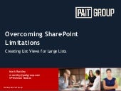 SPTechCon Boston 2015 - Overcoming SharePoint Limitations