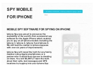 Spy mobile for iphone