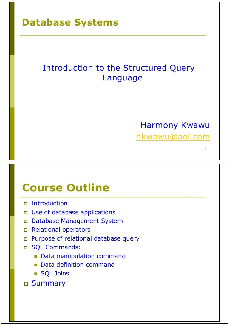 Introduction to the structured query language sql baditri Image collections