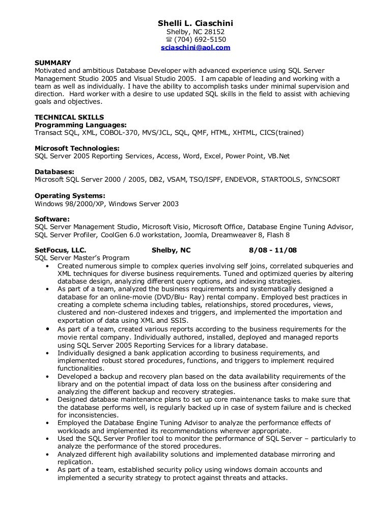 sql developer resume - Database Developer Resume