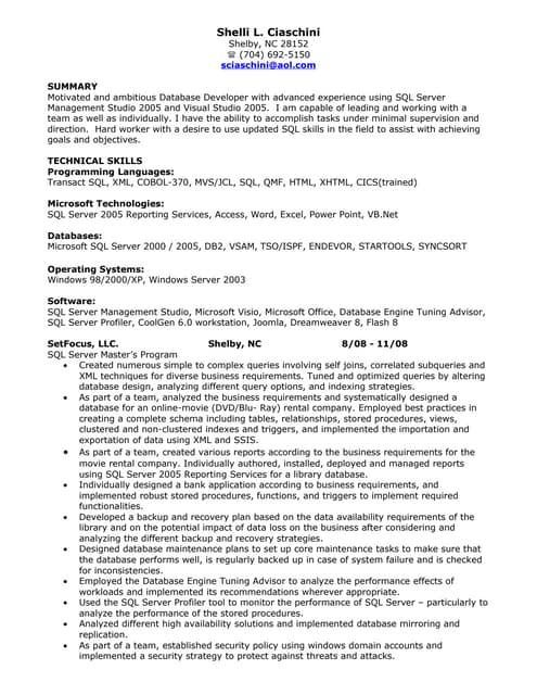Sql Developer Resume entry level sql developer resume sample Sql Developer Resume