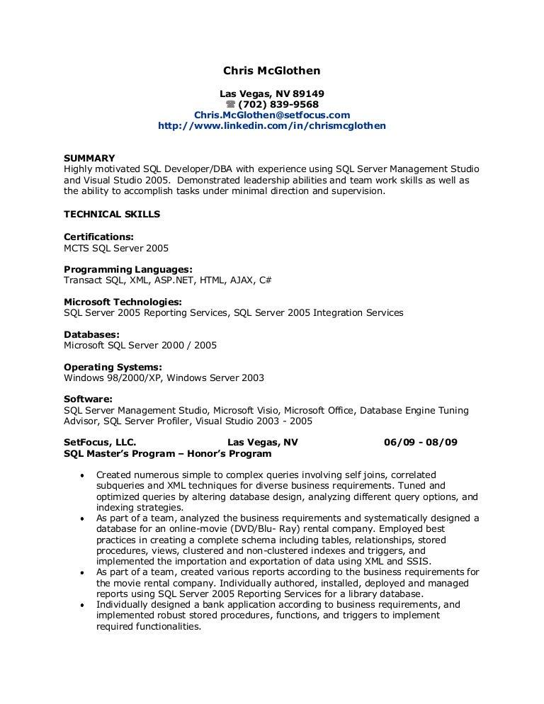 sql resume