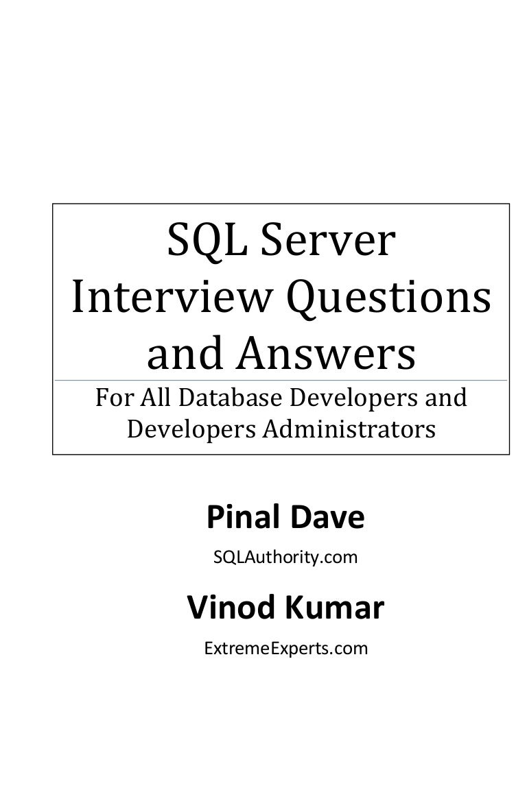 sql server 2008 interview questions answers