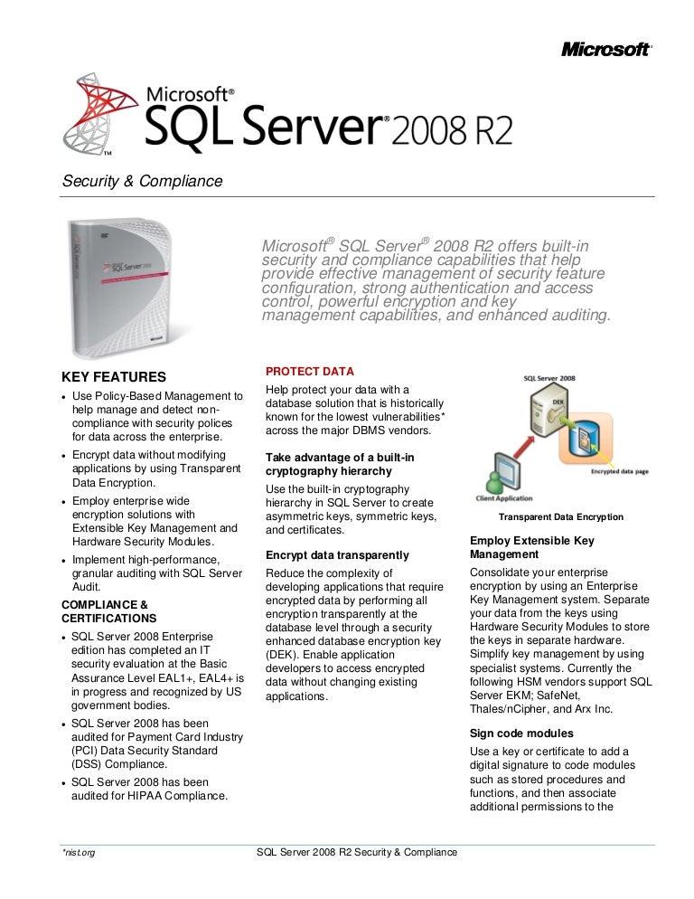Sql Server 2008 R2 Security Datasheet