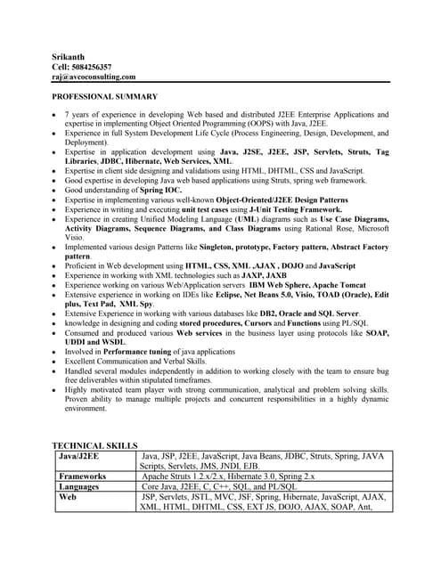 resume of java developer