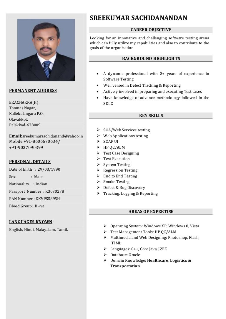 Sreekumar Software Tester Resume