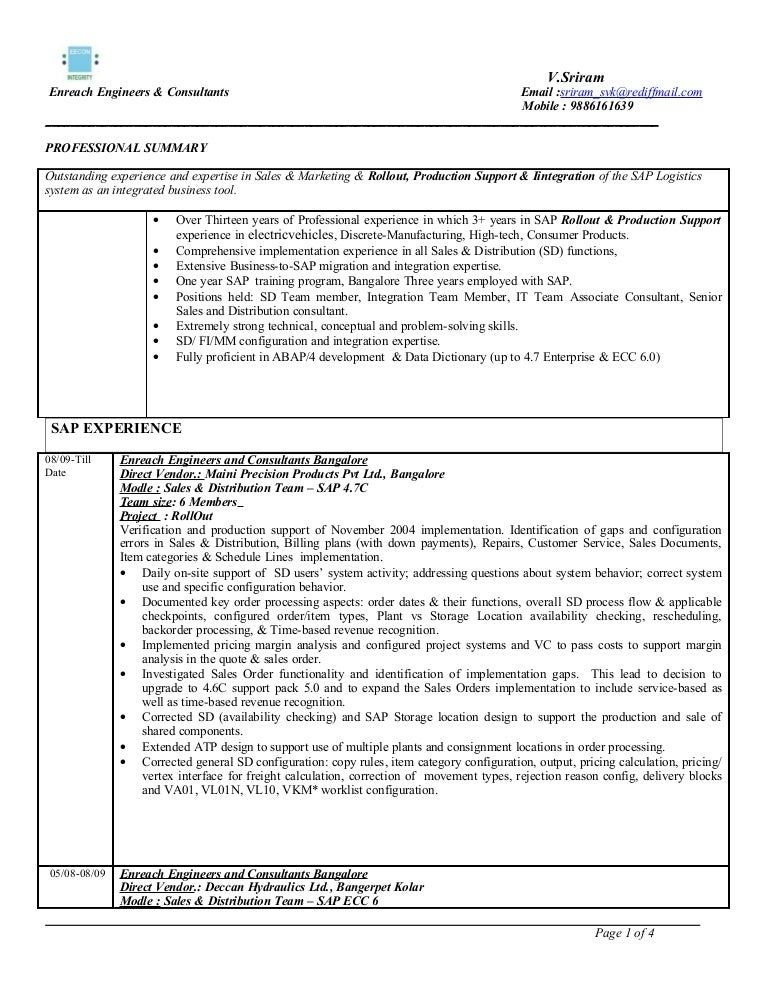 sap sd 3 years - Sap Fico Resume Sample