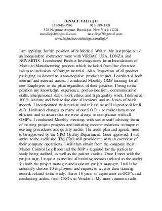sr medical writer cover letter - Medical Writer Cover Letter