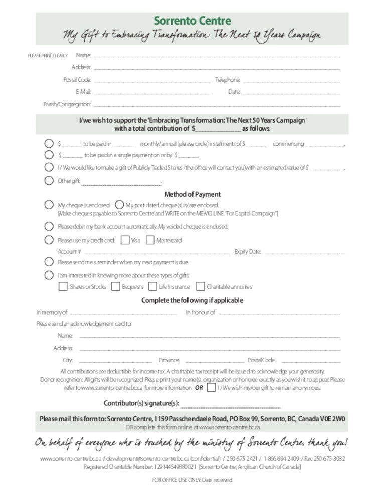 Pledge Form. A Pledge Form Is Used By Registrants For Offline