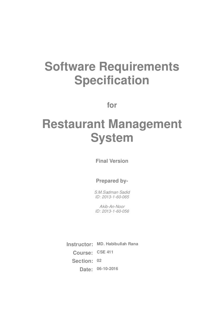 Software Requirements Specification For Restaurant Management System