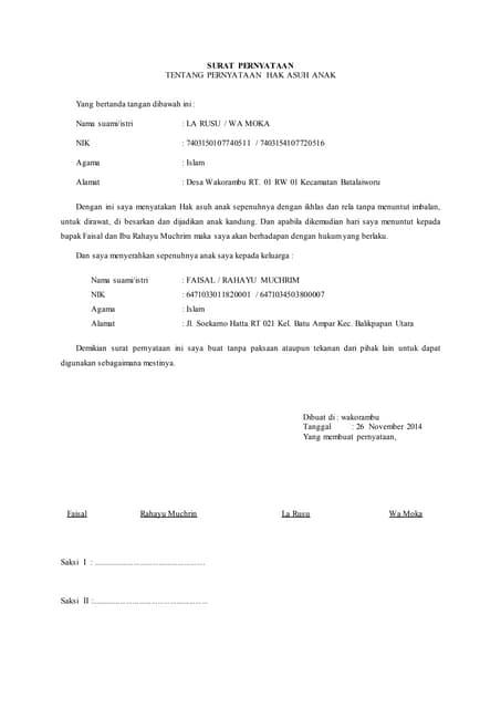 Surat Pernyataan Ikrar Talak