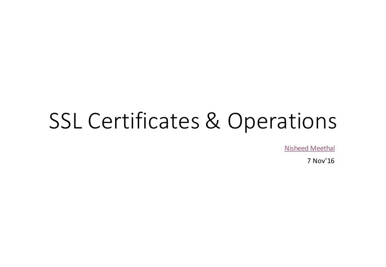 Ssl Certificates And Operations