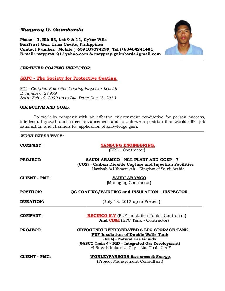 resume of qaqc inspector coating  painting and insulation