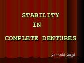 Stability in complete denture
