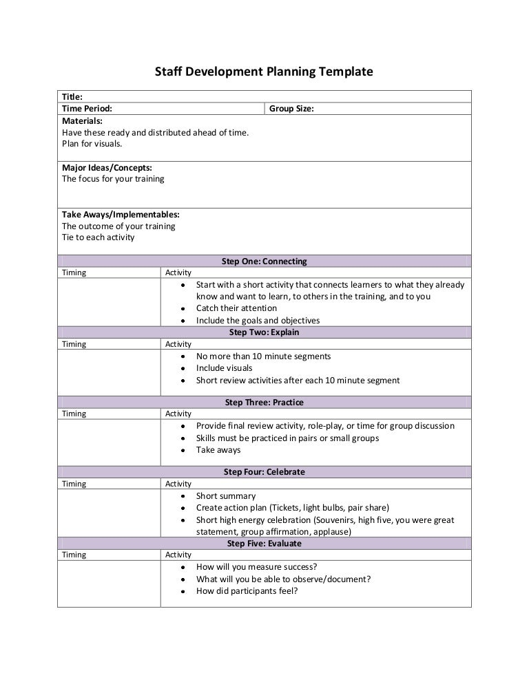 Staff development planning template with suggestions
