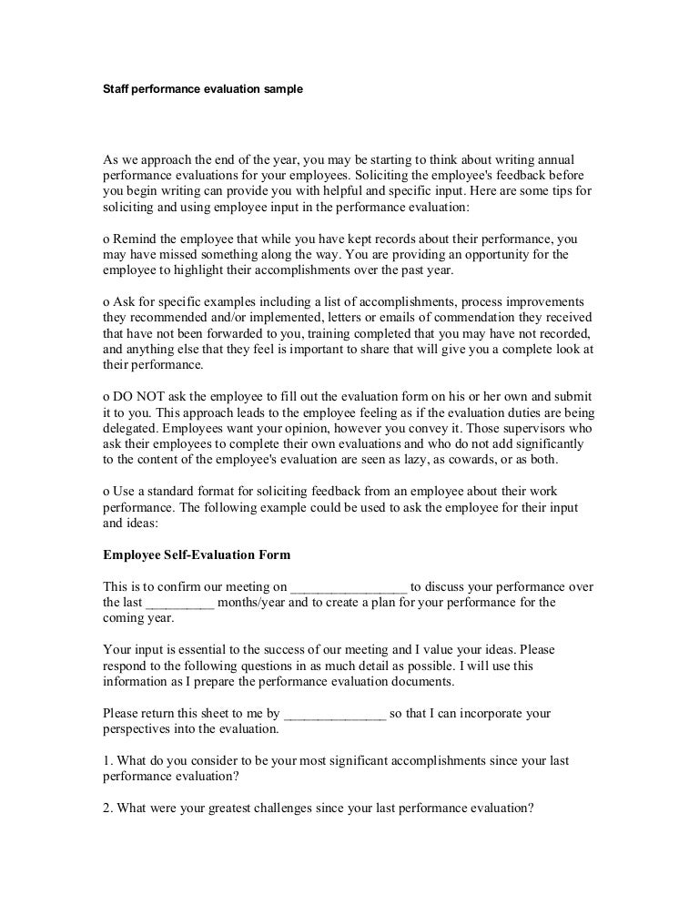 Staff performance evaluation sample for Performance review letter template
