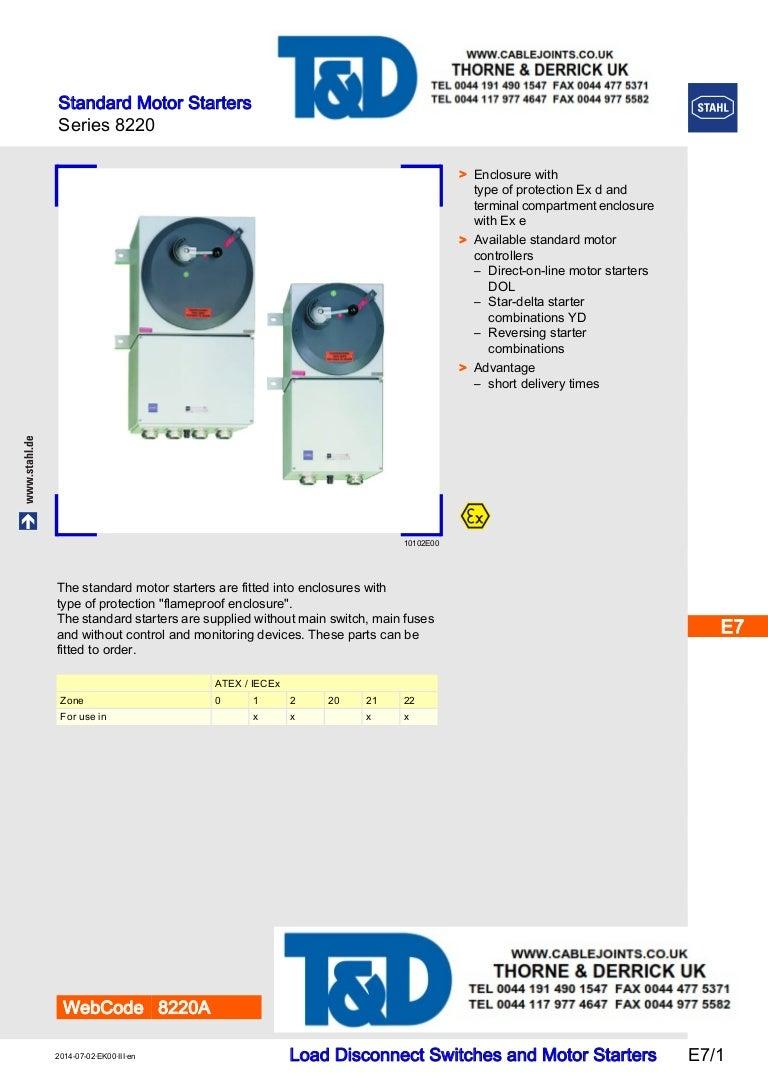 Stahl 8220 Star Delta Motor Starters Atex Zone 1 2 Hazardous A Starter Control Circuit Diagram On