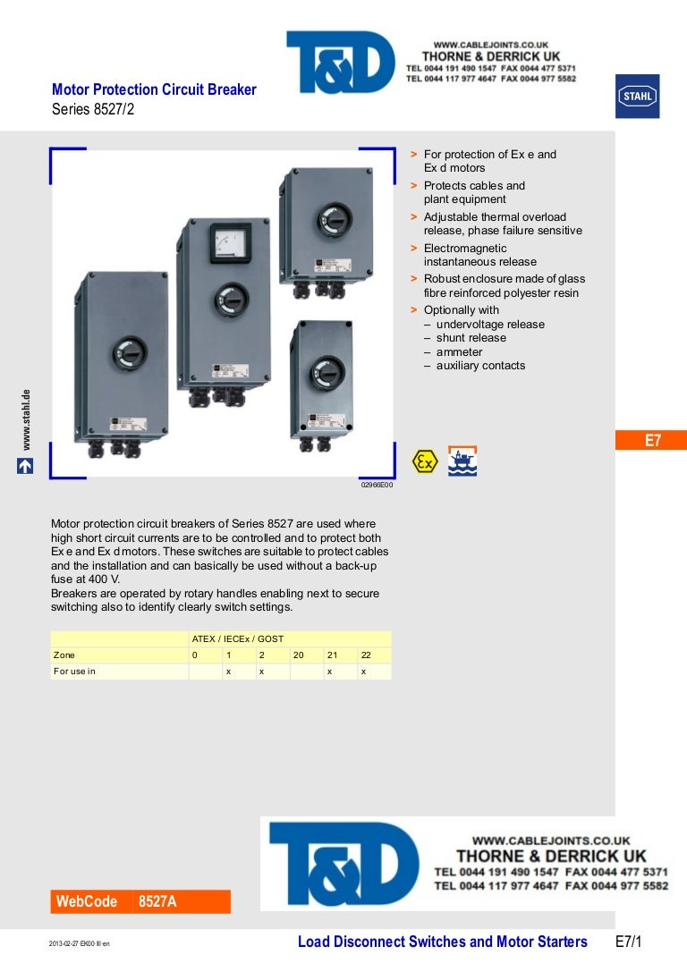Stahl 8527 Motor Protection Circuit Breakers Atex Zone 1 2 Haza Short