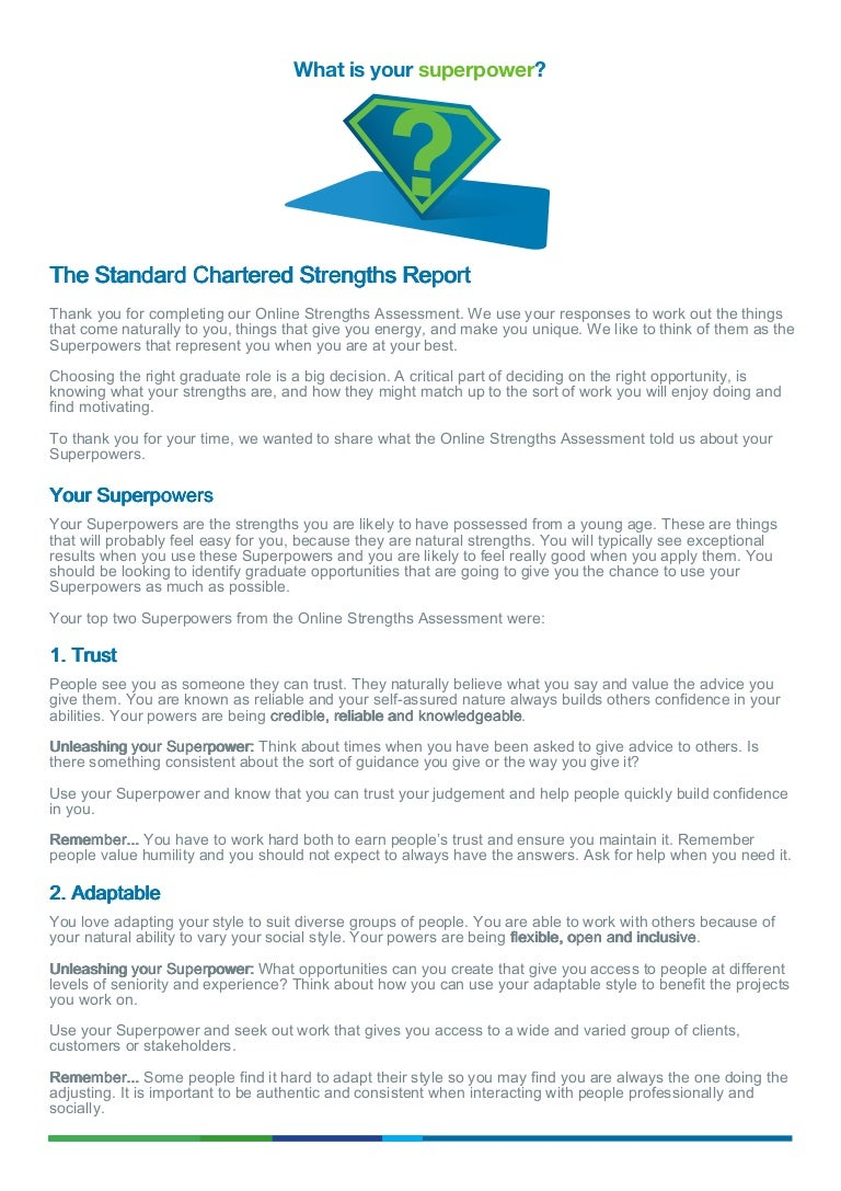 stanchart personality strengths report