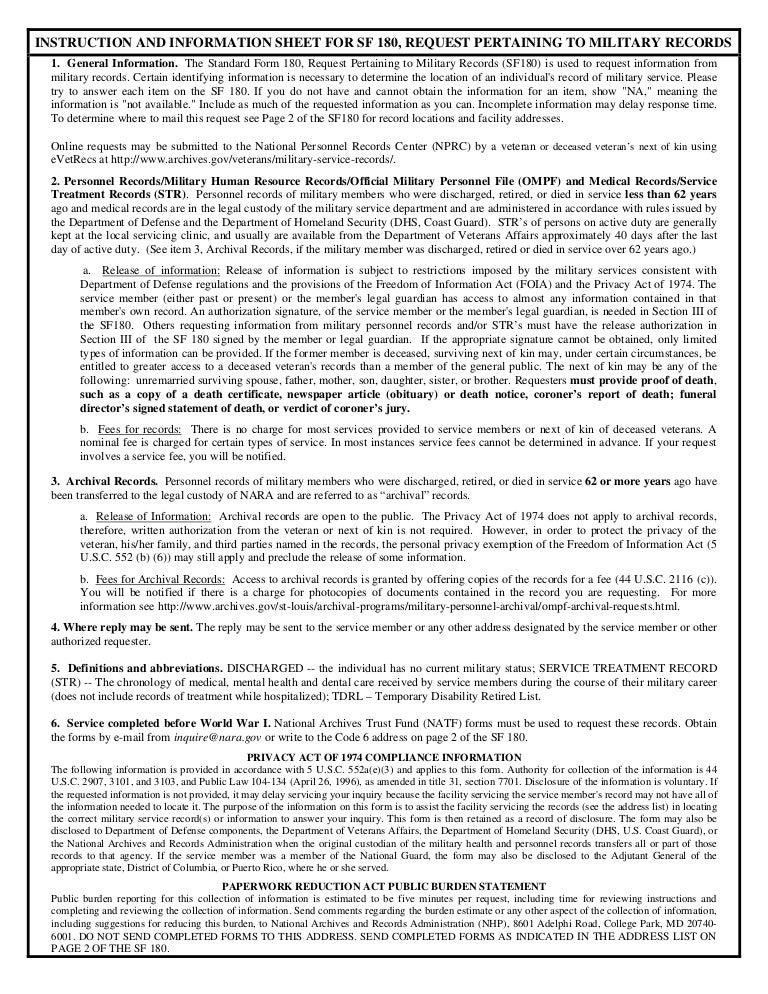 Standard Form 180