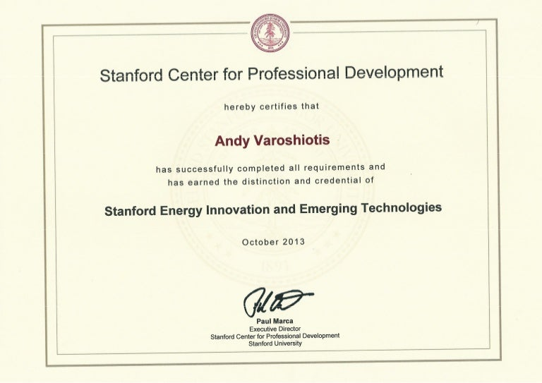 Stanford University Energy Innovation And Emerging Technologies Certi