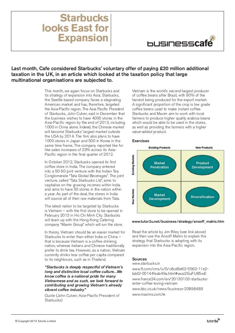 an internal analysis of starbucks marketing essay Starbucks has been able to maintain a sustainable competitive advantage throughout the years, i will be doing an internal and external analysis and the number of substitute products for starbucks brand coffee is high there are several substitutes available in the market such as juices, tea.