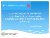 Improving support for women with musculoskeletal conditions during pregnancy, pregnancy planning, and early parenting