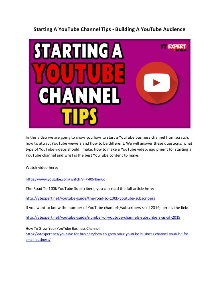 Starting A Youtube Channel Tips Building A Youtube Audience