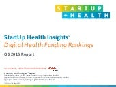 StartUp Health Insights Digital Health Funding Rankings Q3 2015 Report