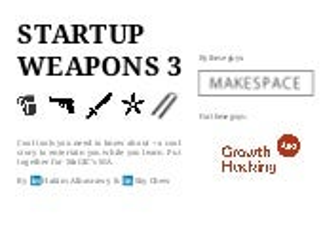 Startup Weapons for Newbie Entrepreneurs