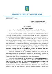 Statement of a Criminal Offense (under Part 1 of Art. 214 of the Criminal Procedure Code of Ukraine) (Dmytro Sherembei and Vitalii Shabunin). Translation