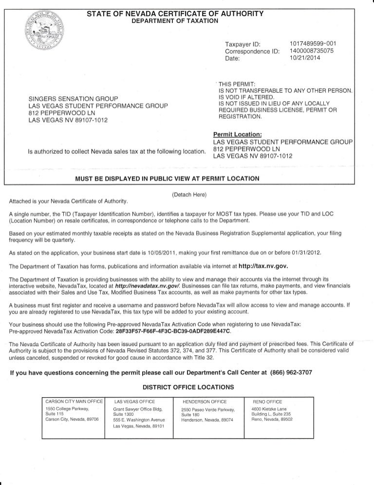 State of nevada cert. auth dept of taxation
