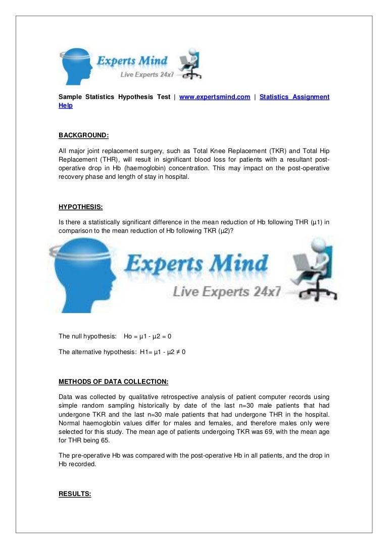 statistics hypothesis test assignment help