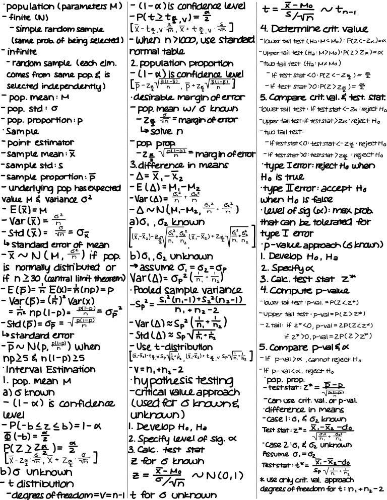 Statistics for Economics Final Exam Cheat Sheet