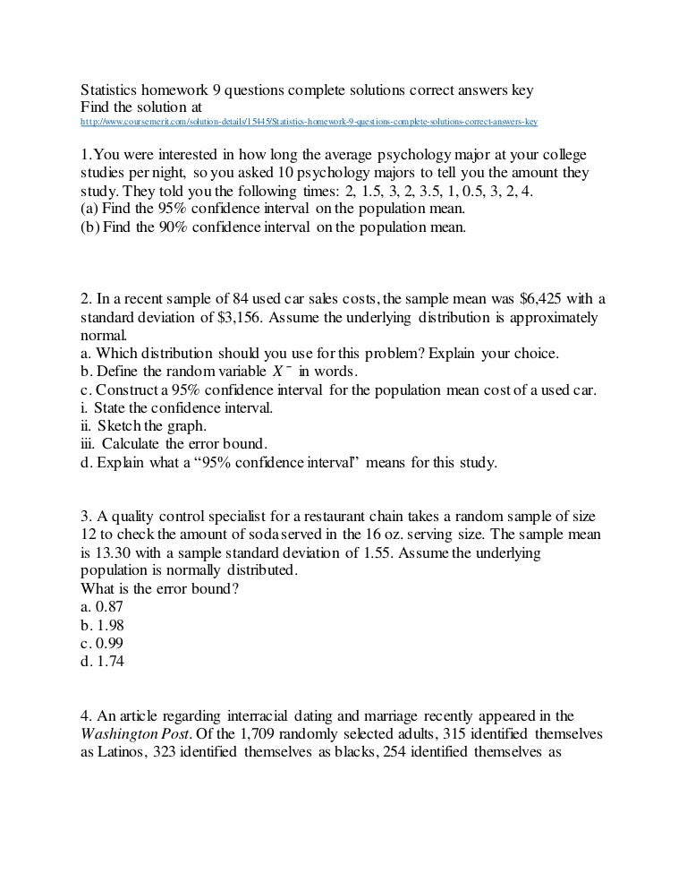 Statistics homework   questions complete solutions correct answers key