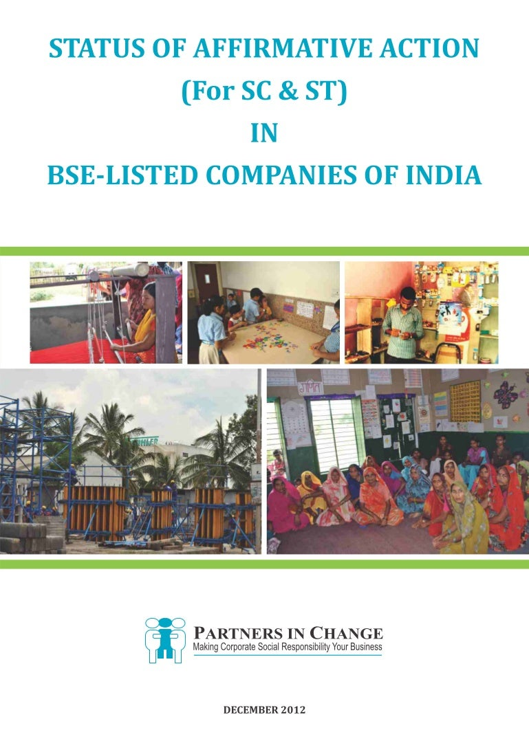 Status of affirmative action in bse listed companies of india