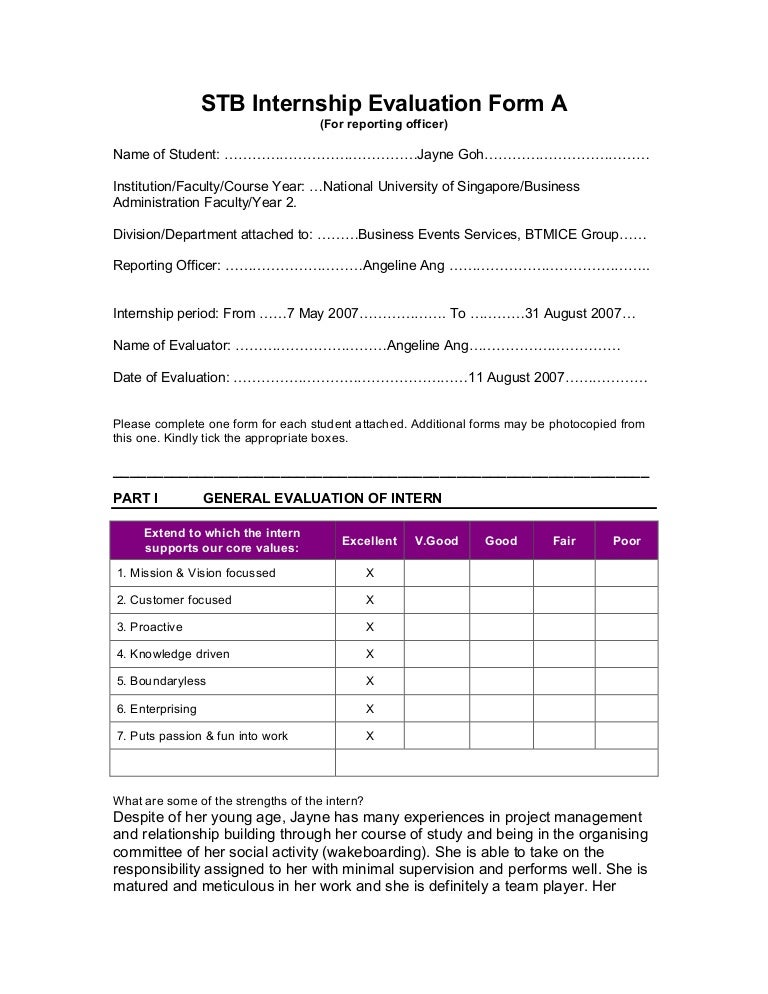 Internship Evaluation Form