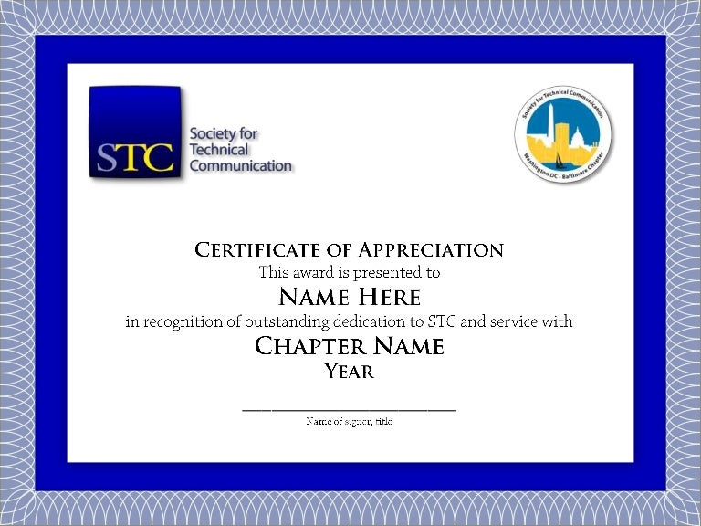 Sample stc chapter volunteer service certificate thank you yadclub Image collections