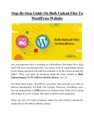Step by-step guide on bulk upload files to word press website