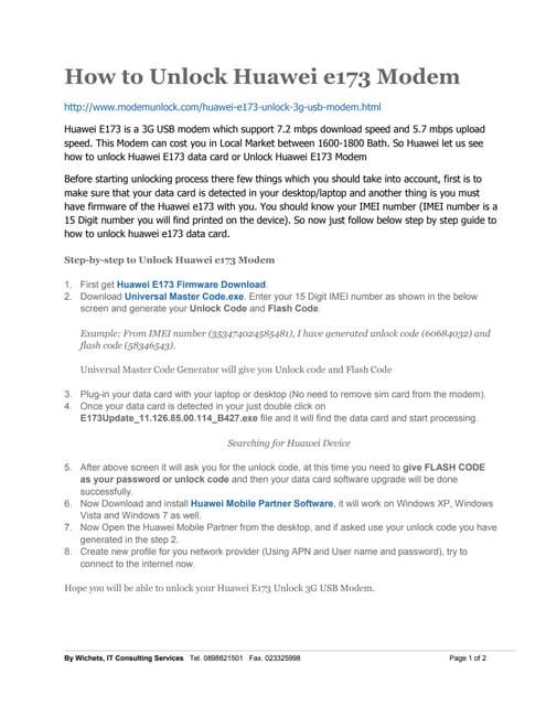 Step-by-step to unlock Huawei E173 Modem
