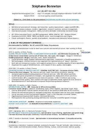 stephane bonneton cv experienced procurement specialist - Procurement Specialist Cover Letter