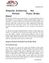 Steps for achieving the perfect press brake bend