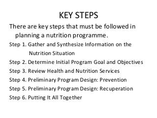 Steps in designing nutrition programme