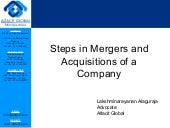 Steps in mergers and acquisitions of a company