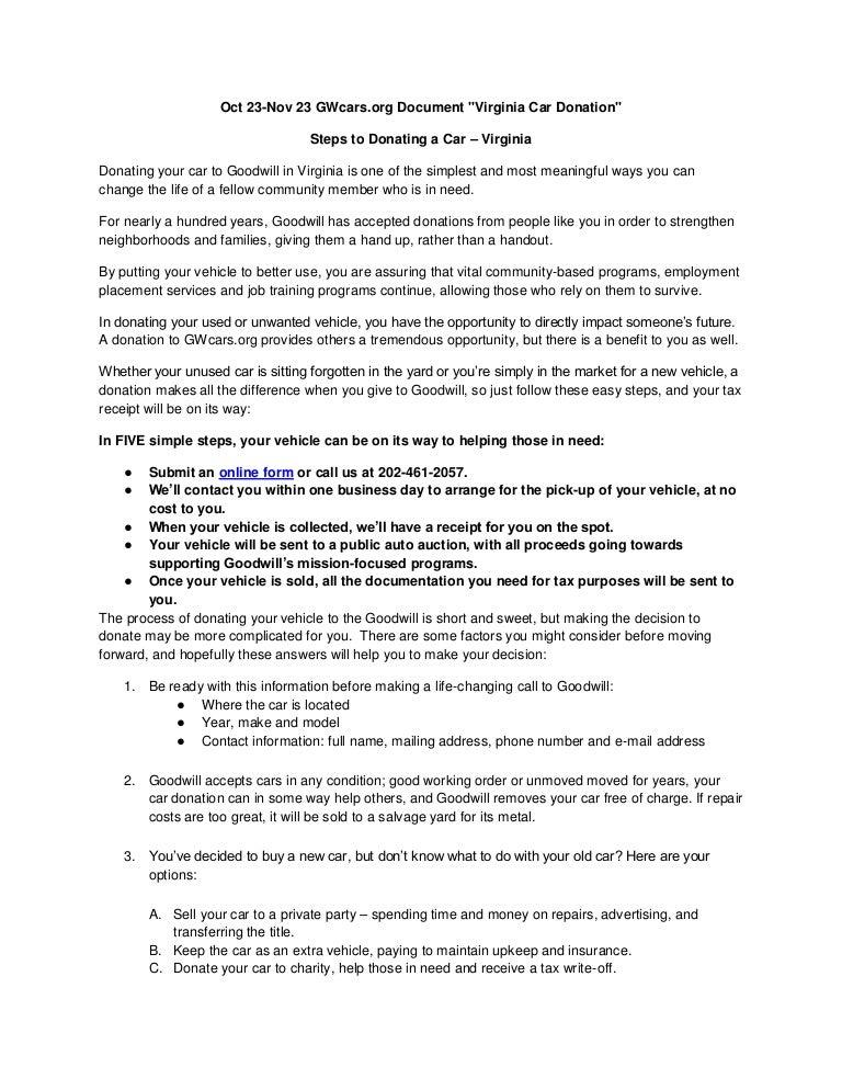 Virginia Car Tax >> Steps To Donating A Car Virginia