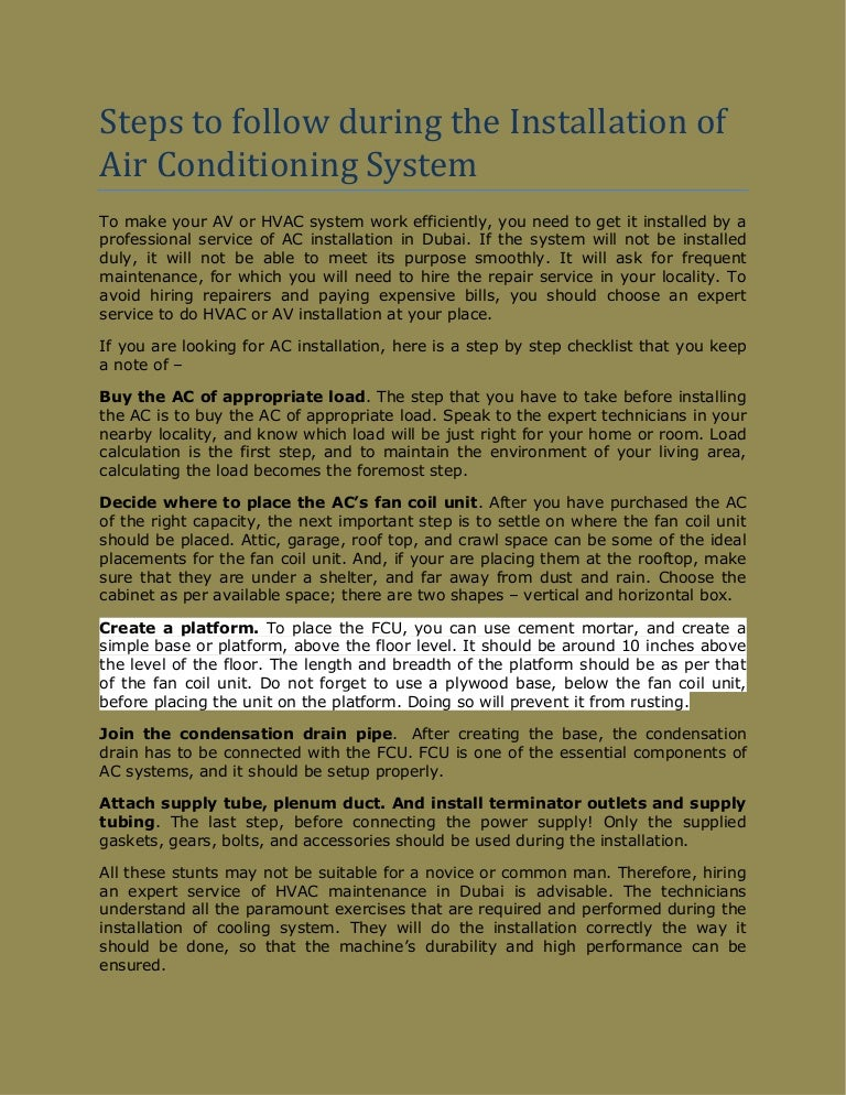 Steps to follow during the Installation of Air Conditioning System